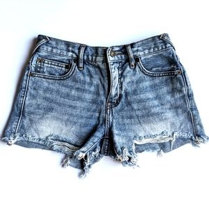 FREE PEOPLE Distresses Jean Shorts